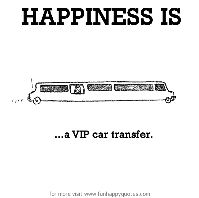 Happiness is, a VIP car transfer.