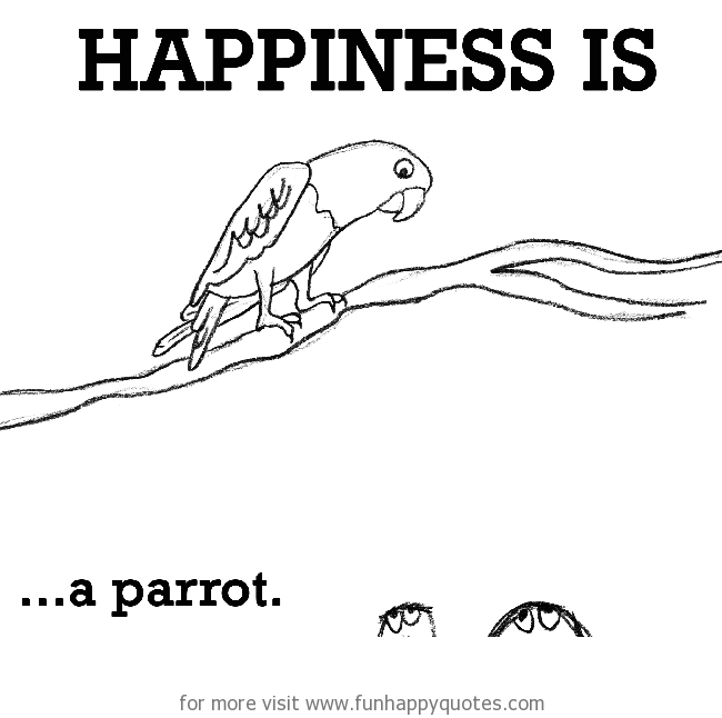 Happiness is, a parrot.