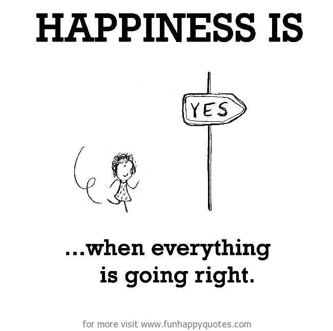 Happiness is, when everything is going right.