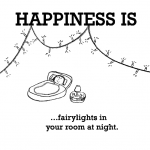 Happiness is, fairy lights in your room at night.