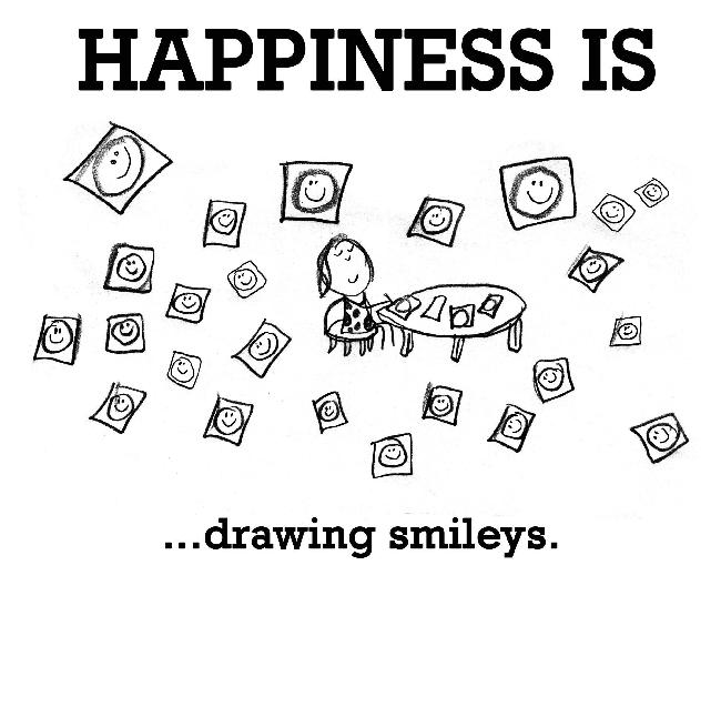 Happiness is, drawing smileys.