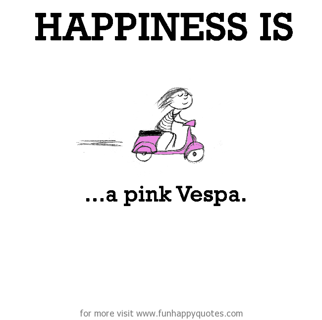 Happiness is, a pink Vespa.