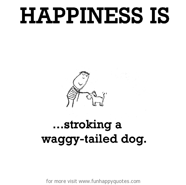 Happiness is, stroking a waggy-tailed dog.