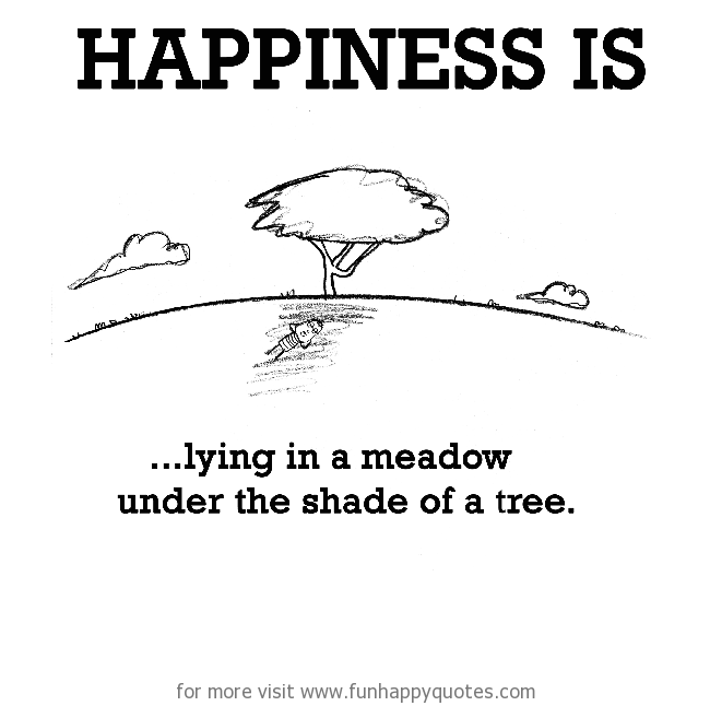 Happiness is, lying in a meadow under the shade of a tree.