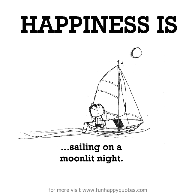 Happiness is, sailing on a moonlit night.