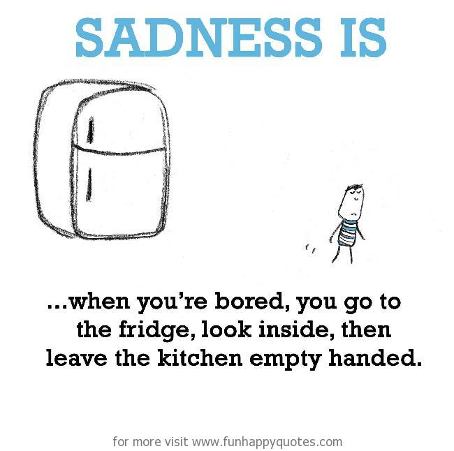 Sadness is, empty fridge.