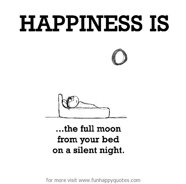 Happiness is, the full moon from your bed on a silent night.