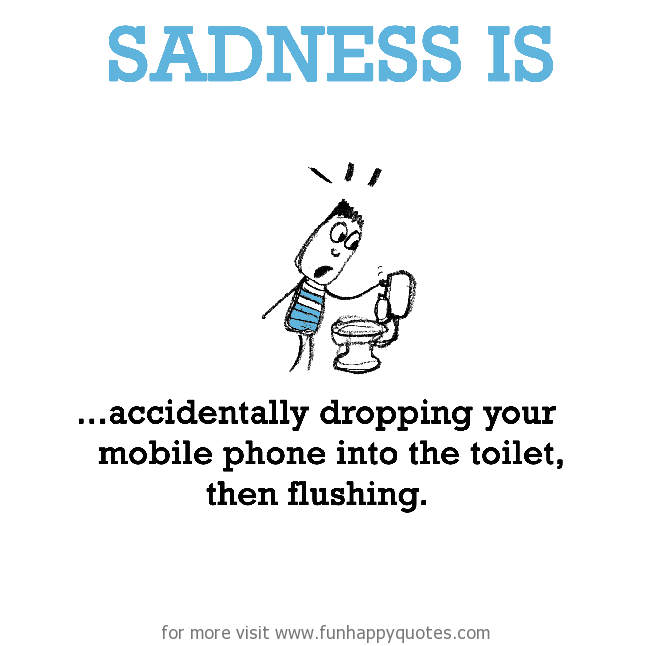 Sadness is, accidentally dropping your mobile phone.