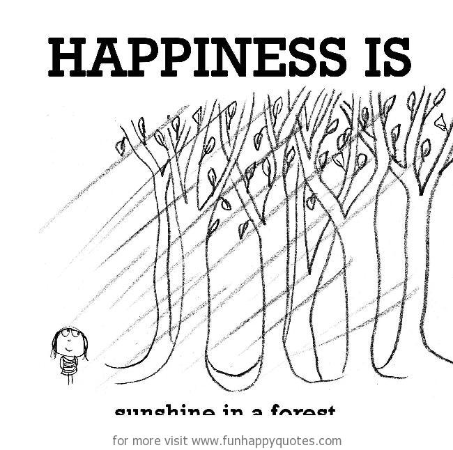 Happiness is, sunshine in forest.