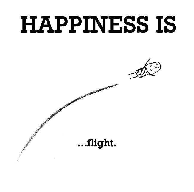 Happiness is, flight.