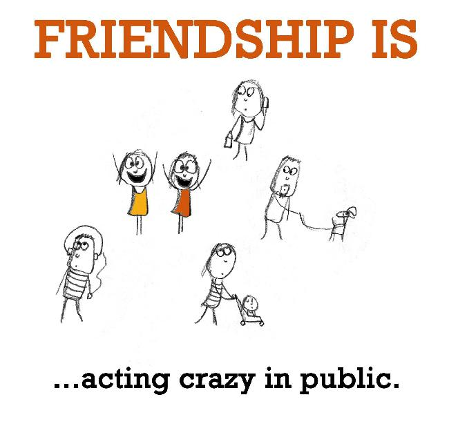 Friendship is, acting crazy in public.