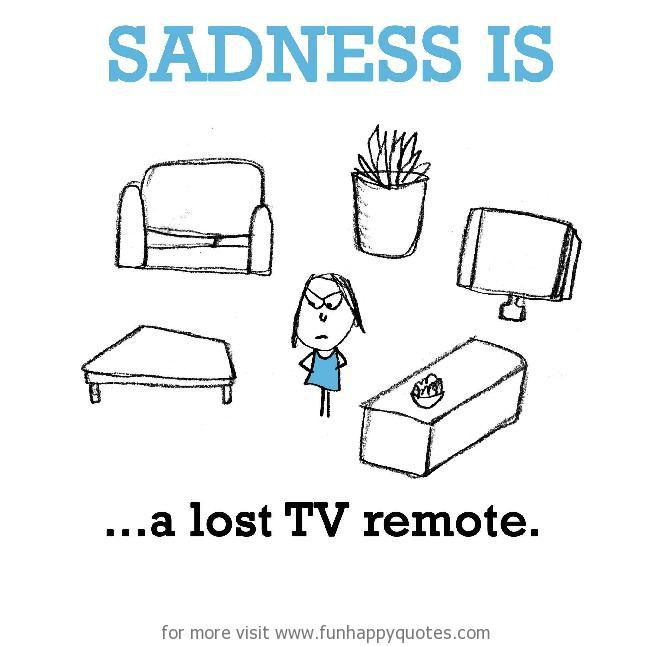 Sadness is, a lost TV remote.