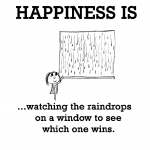 Happiness is, watching the raindrops on a window to see which one wins.