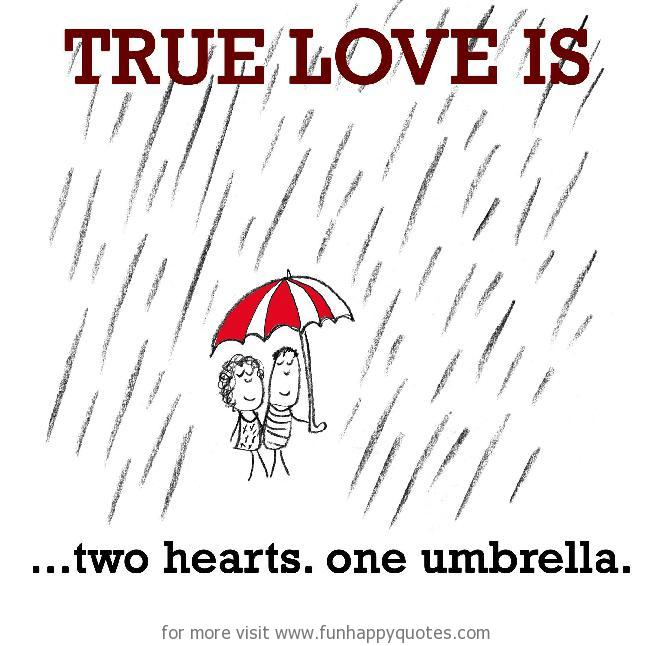 True Love is, two hearts. one umbrella.