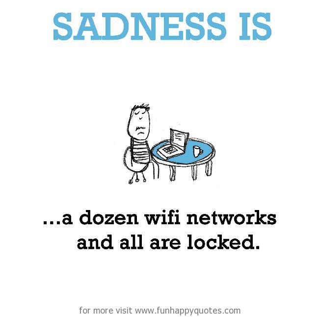 Sadness is, a dozen wifi networks and all are locked.