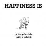 Happiness is, a bicycle ride with a rabbit.