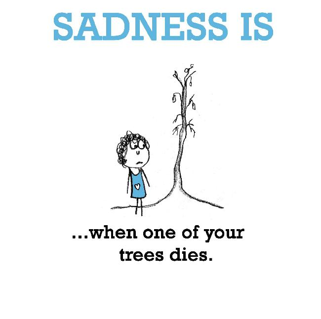 Sadness is, when one of your trees dies.