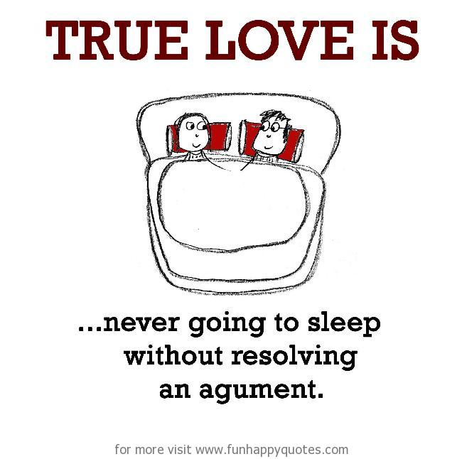 True Love is, never going to sleep without resolving an argument.