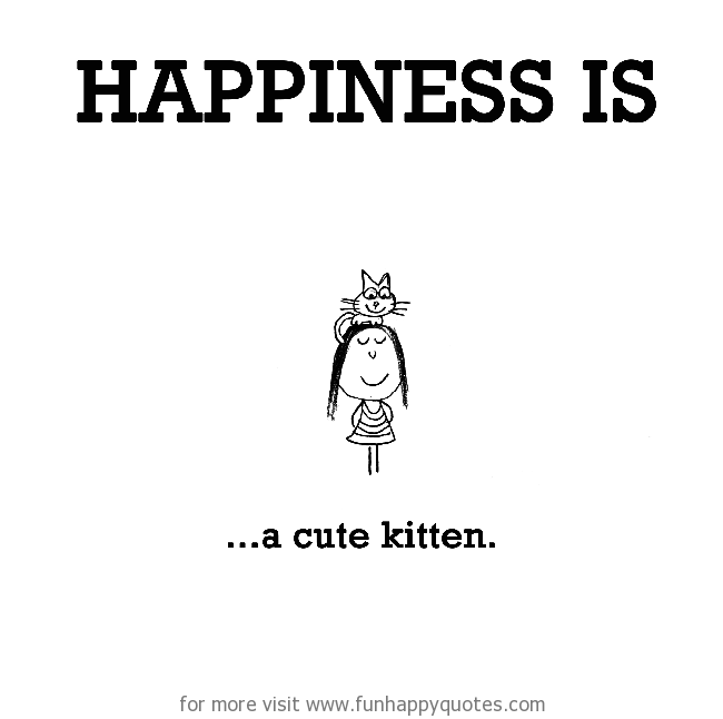 Happiness is, a cute kitten.