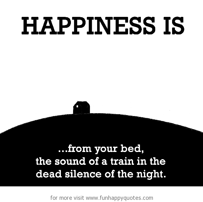 Happiness is, the sound of a train in the dead silence of the night.