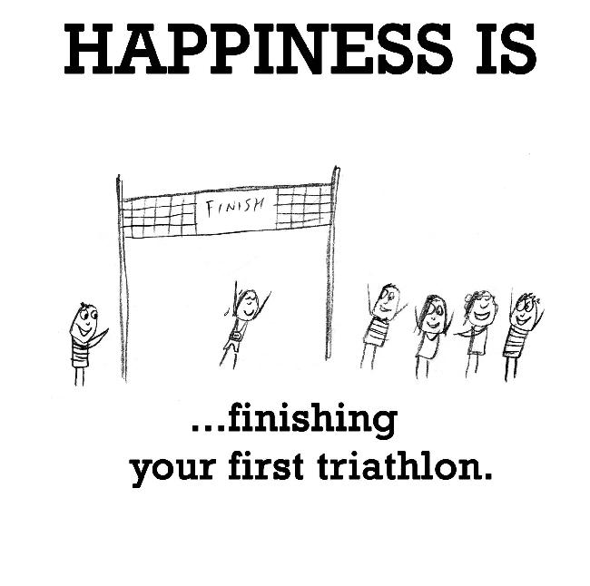Happiness is, finishing your first triathlon.