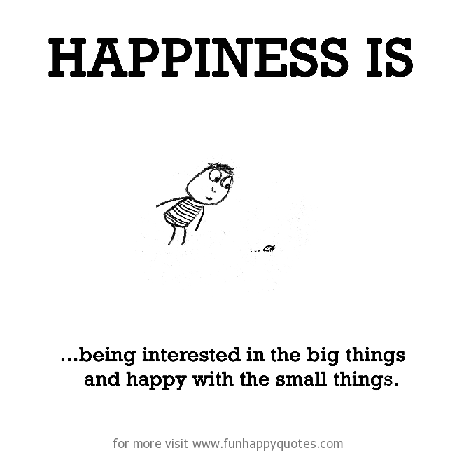 Happiness is, being interested in the big things and happy with the small things.