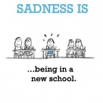 Sadness is, being in a new school.