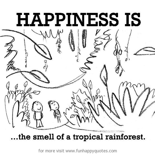 Happiness is, the smell of a tropical rainforest.