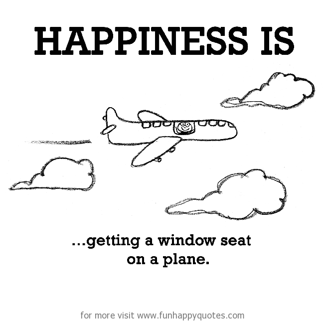 Happiness is, getting a window seat on a plane.