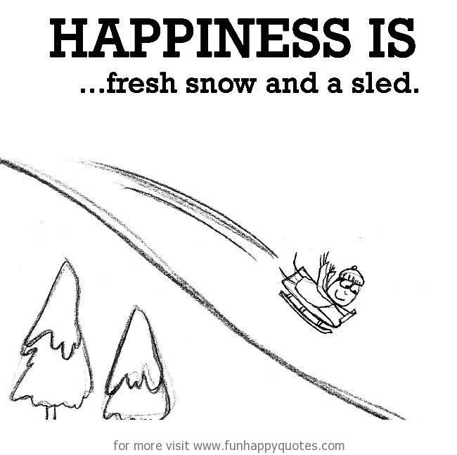 Happiness is, fresh snow and a sled.
