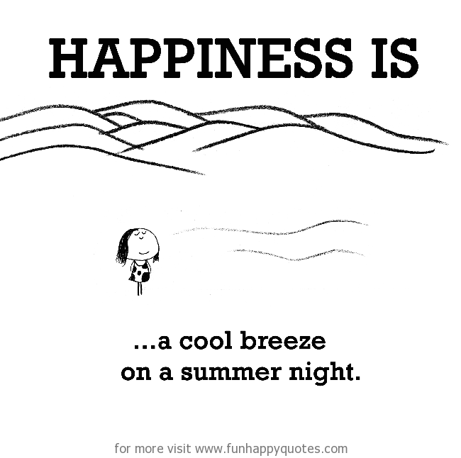 Happiness is, a cool breeze on a summer night.