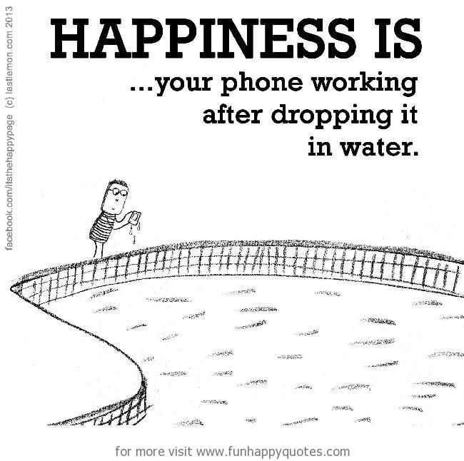 Happiness is, your phone working after dropping it.