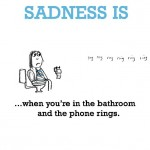 Sadness is, when you're in the bathroom and the phone rings.