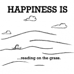 Happiness is, reading on the grass.
