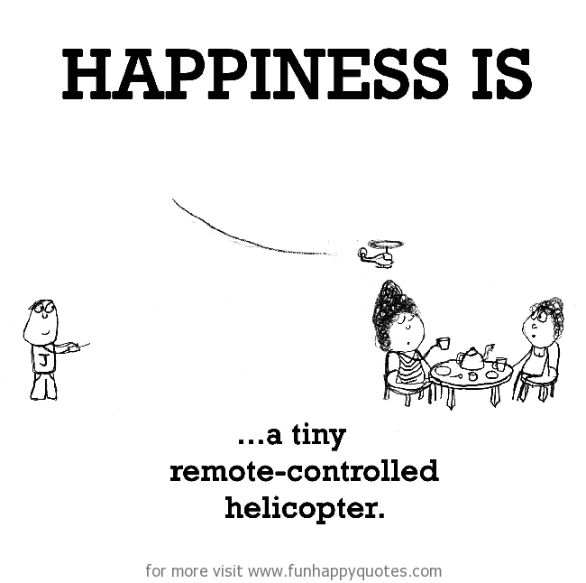 Happiness is, a tiny remote-controlled helicopter.