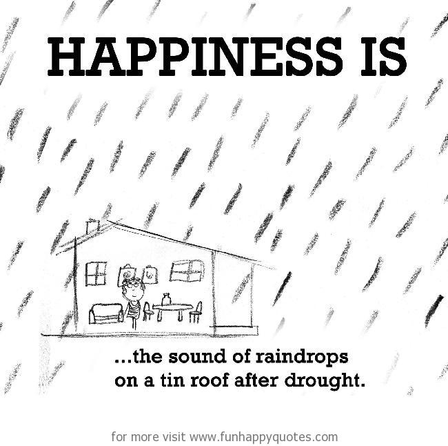 Happiness is, the sound of raindrops on a tin roof after drought.