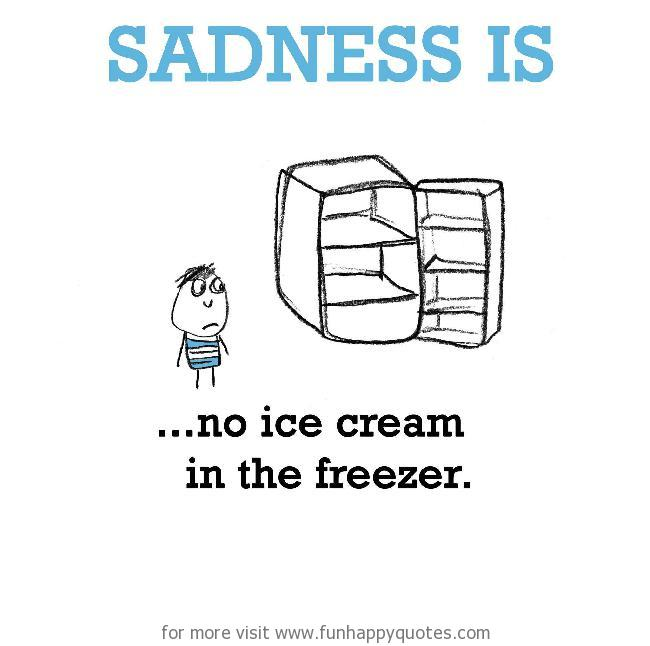 Sadness is, no ice cream in the freezer.