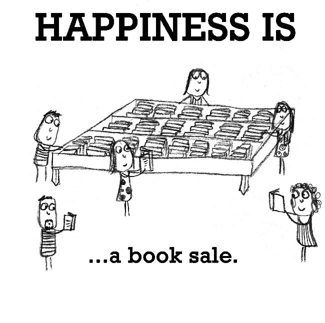 Happiness is, a book sale.